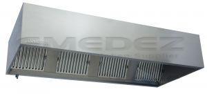 Hota inox prindere in perete cu filtru anti flacara 300x117x50