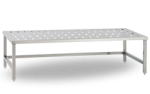 Bancheta inox perforata pentru bagaje/materiale 140x60x57